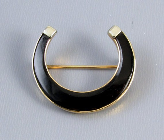 Antique Edwardian 14k yellow and white gold black onyx horse shoe horseshoe equestrian brooch pin signet initial C