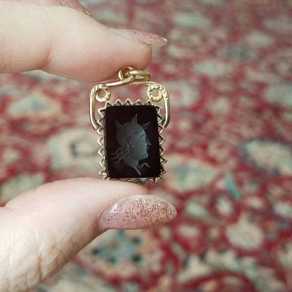 Antique Victorian gold filled black onyx intaglio cameo watch fob with zig zag pie crust frame, charm, pendant