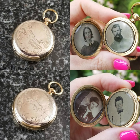 Rare antique Civil War Era mid Victorian lovers locket with 4 tin type photograhs of family, gold lids, gold filled frame and bow, 1860s