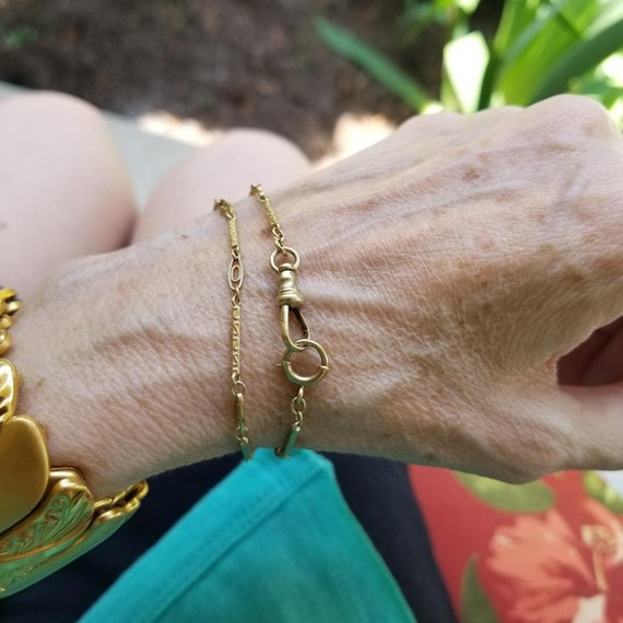 "13-5/8"" inch 10k gold vintage Art Deco fancy engraved bar link and eye link pocket watch chain, small bracelet length"