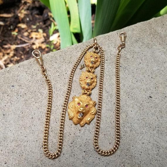 Antique Edwardian Art Nouveau triple lions head paste pocket watch fob chain necklace, double dog clip swivel ends