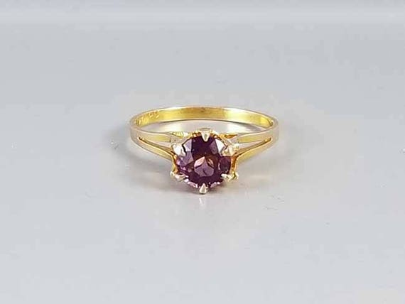 Antique early Art Deco 10k gold purple amethyst solitaire ring signed Ostby Barton, size 7-1/4