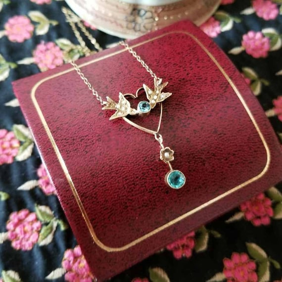 Antique Edwardian Art Nouveau 14k gold blue zircon and seed pearl love birds and heart pendant necklace lavalier, signed I. Lachman & Sons