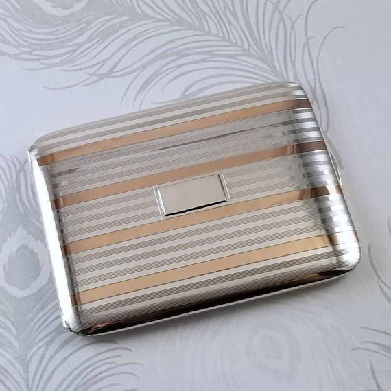 3.6 ounce Vintage Art Deco signed Napier sterling silver 14K rose gold cigarette case, tobacciana, smoking, business card case