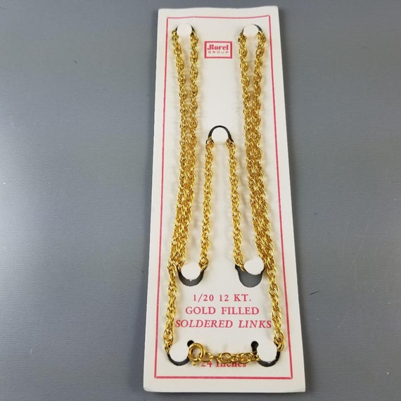 """Vintage NOS new old stock 24"""" gold filled necklace, pendant, chain, jewelry supply, replacement chain, twisted curb link, neck chain"""