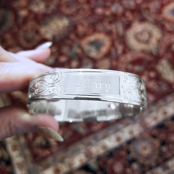 "Antique Edwardian signed Joseph Seymour Syracuse New York coin silver knife bracelet, 7"" to 8"", engraved ""Mary"""