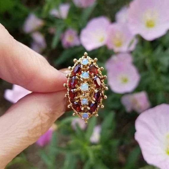 Modern estate 14k gold garnet and opal statement cocktail navette ring, size 6, MASSIVE