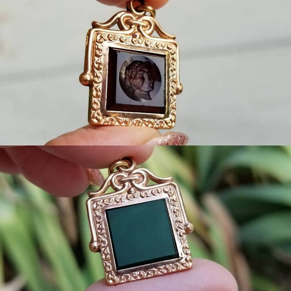 Antique Victorian rose gold filled double sided green agate and rootbeer glass intaglio cameo watch fob charm, pendant