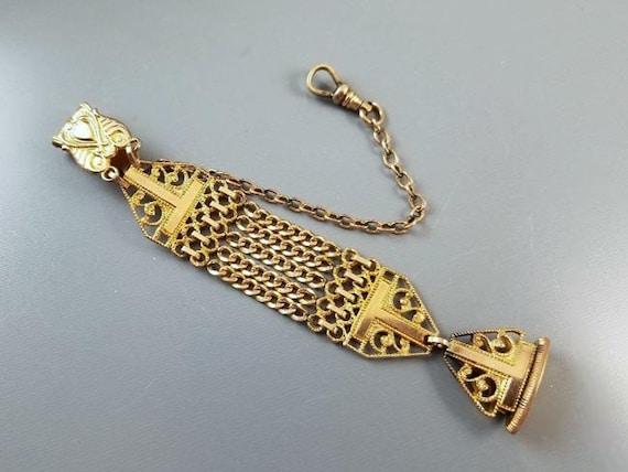 Antique Edwardian gold filled very ornate pocket watch fob, signed SO Bigney