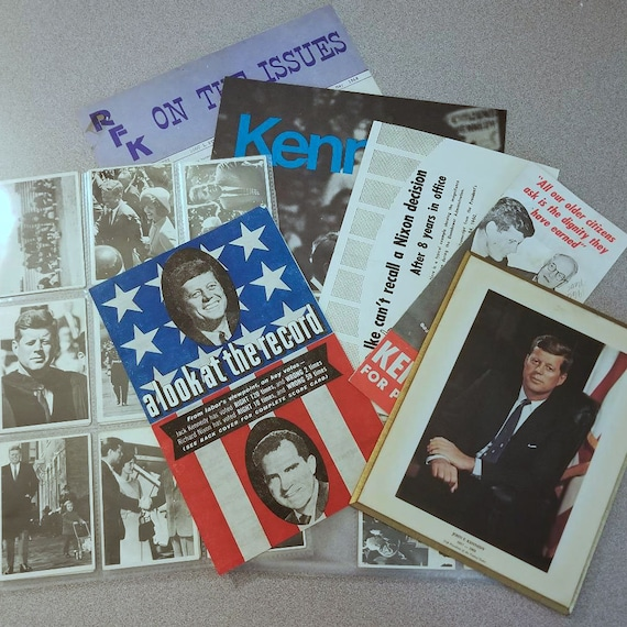 Large lot vintage President JFK RFK John F Kennedy, Robert F Kennedy Democratic political collectible memorabilia, Topps TCG trading cards
