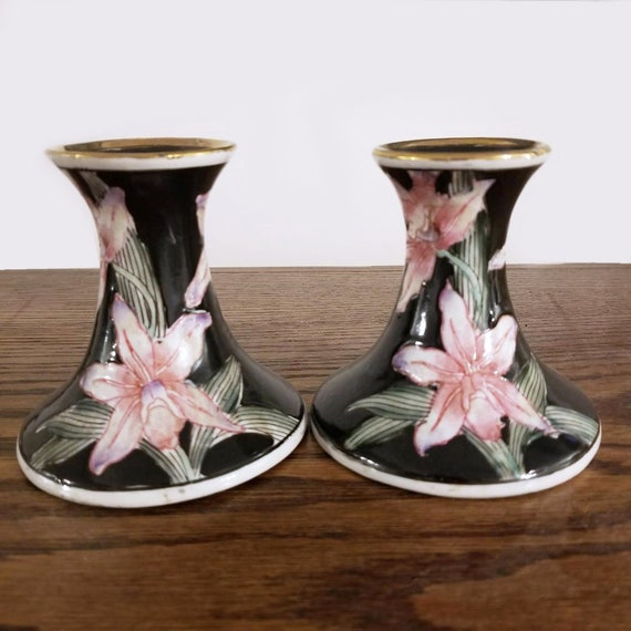 Pair of vintage black and pink orchids hand painted in Macau Asian porcelain candle stick holders, candlestick, shabby chic, Oriental