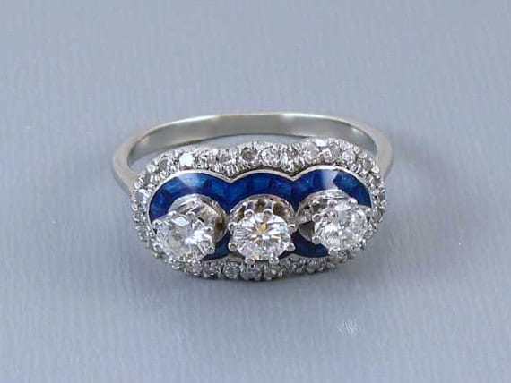Vintage Art Deco 1920s 18k white gold .70 carat diamond cobalt blue guilloche enamel triple halo ring size 5 / three stone / 3 stone / halo