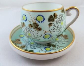 Vintage hand painted Japan demitasse geisha lithophane cup and saucer, porcelain, china, bone china, tea, coffee, tea time, high tea