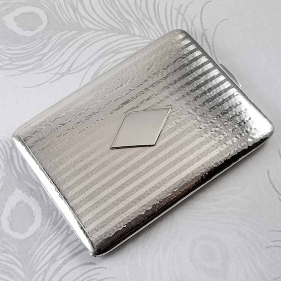 3.7 ounce Vintage Art Deco signed Blackinton sterling silver hand hammered cigarette case, tobacciana, smoking, business card case