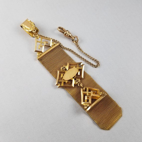 Antique Edwardian gold filled wide mesh pocket watch seal fob, signed WE Hayward Company