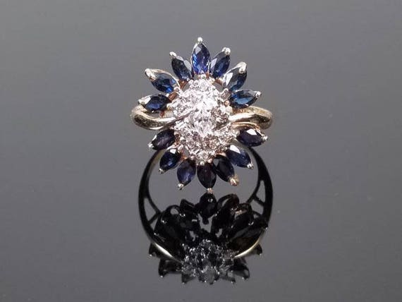 Modern estate 14k gold 1.30 carat blue sapphire marquise and diamond ballerina statement ring, size 7-1/4