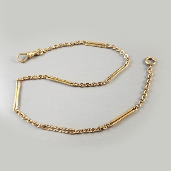 Vintage Art Deco gold filled link pocket watch chain, signed Simmons, bracelet length, 14.5 inch