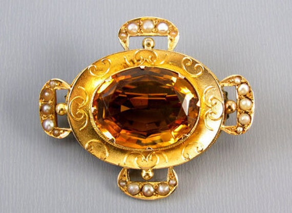 Antique mid Victorian 14k gold 8.5 carat citrine seed pearl buckle motif brooch pin