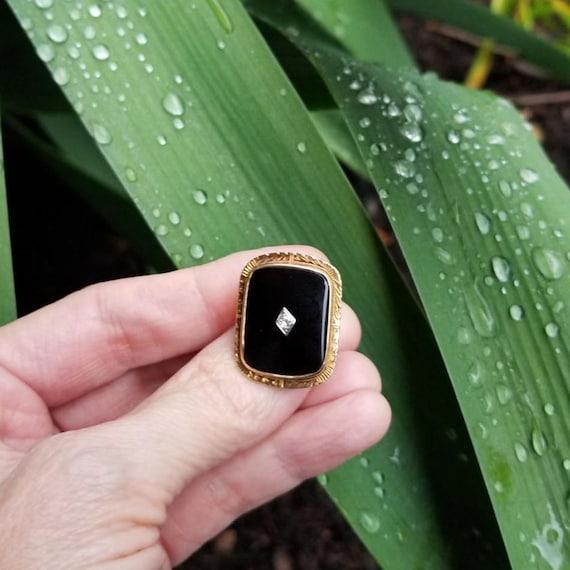 Antique Art Deco 14k gold black onyx and diamond statement ring, size 4.5, 1920s