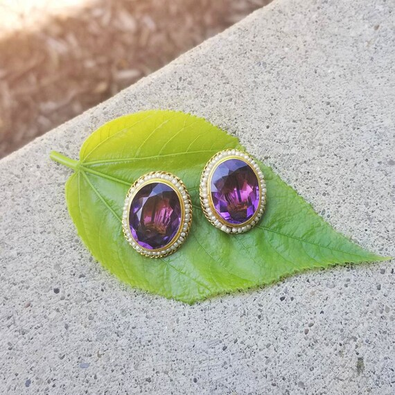 Vintage 14k gold 17 carat tw amethyst and seed pearl non pierced clip button earrings