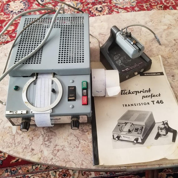 Vintage mid century Tickoprint Bandelin L and R watch timing machine, not working, for repair or parts