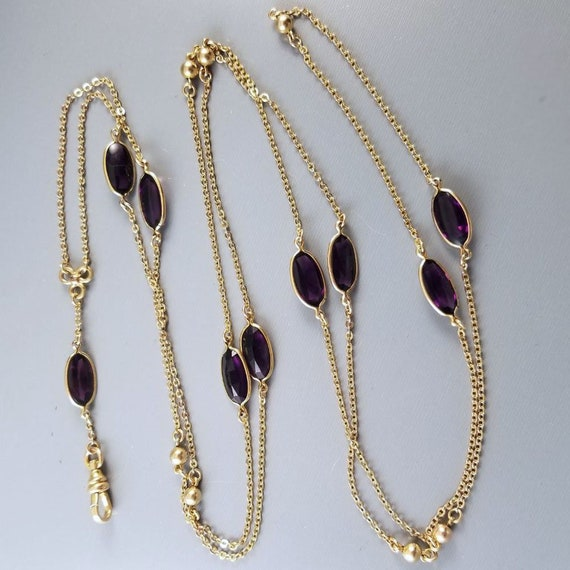 Antique Victorian G.F. purple amethyst glass crystal muff or guard chain, pocket watch chain, pendant chain necklace, signed Eiffel Lederer