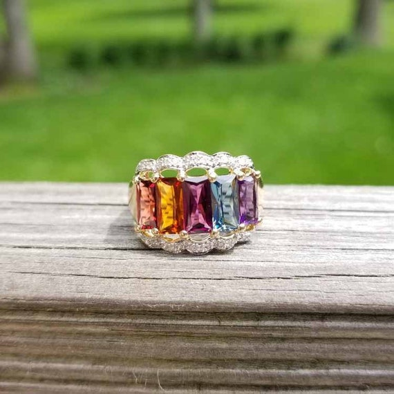 Modern estate 14k two tone yellow and white gold multi gem and diamond rainbow wide band statement ring, cocktail ring, size 8-1/4