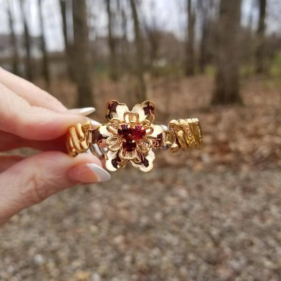 Vintage rose gold filled Barclay stretch expansion sweetheart bracelet, floral ruby red crystal paste flower center