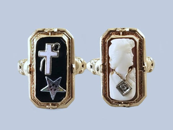 Antique Art Deco 10k gold black onyx cross and star cameo and diamond habille flip ring, size 6.5, Order of the Eastern Star, Masonic