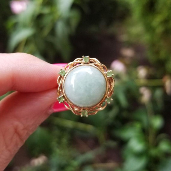 Modern estate Chinese 14k gold pale Moss in Snow green jadeite jade and emerald halo statement ring, size 7, cocktail ring