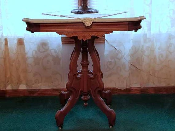OHIO PICKUP Gorgeous antique Edwardian Victorian Eastlake wood marble top side table, oak table, parlor, nightstand, night stand