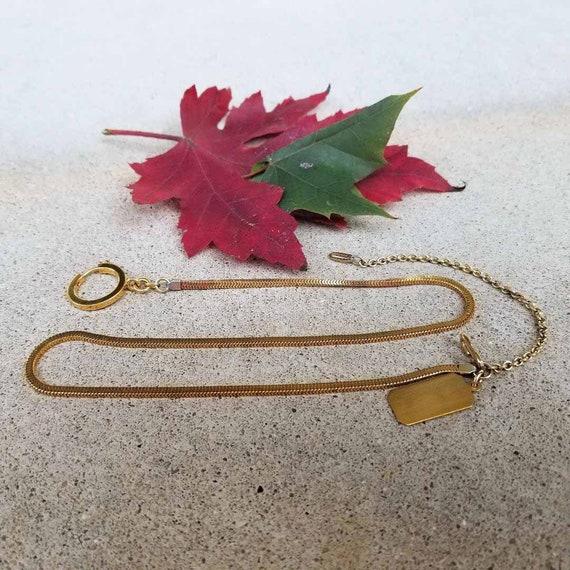 Vintage Art Deco gold filled pocket watch snake chain, keychain, key chain, necklace, dog tag, signed Forstner