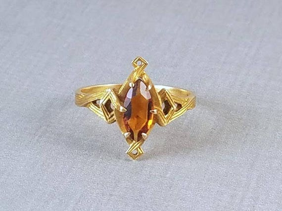 Antique Edwardian Art Nouveau 10k gold heavy bark finish marquise shaped citrine solitaire ring signed White Wile & Warner WWW size 7