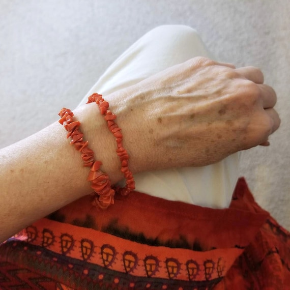 "Pair of 2 vintage strands of genuine coral bead 8"" bracelets"