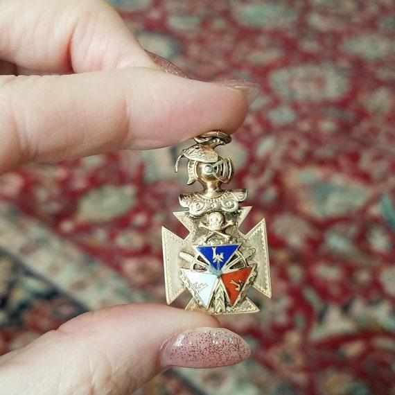 Antique Edwardian gold filled enamel IOOF Odd Fellows, FLT, maltese cross, watch fob charm, pendant, skull and bones, knights head, movable