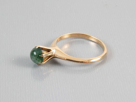 Antique Edwardian rose gold mossy agate, green moss agate, solitaire signed H. Hailparn & Co, size 6