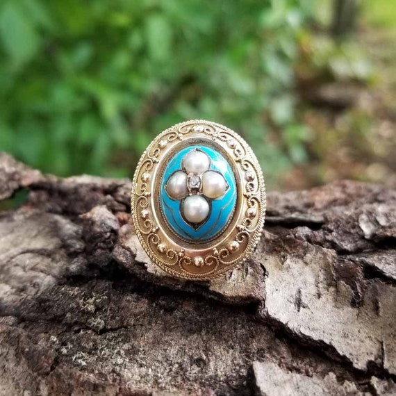 Antique Victorian European 18k / 22k gold Etruscan Revival blue enamel pearl mine cut diamond statement bombe ring, granulation, cannetille