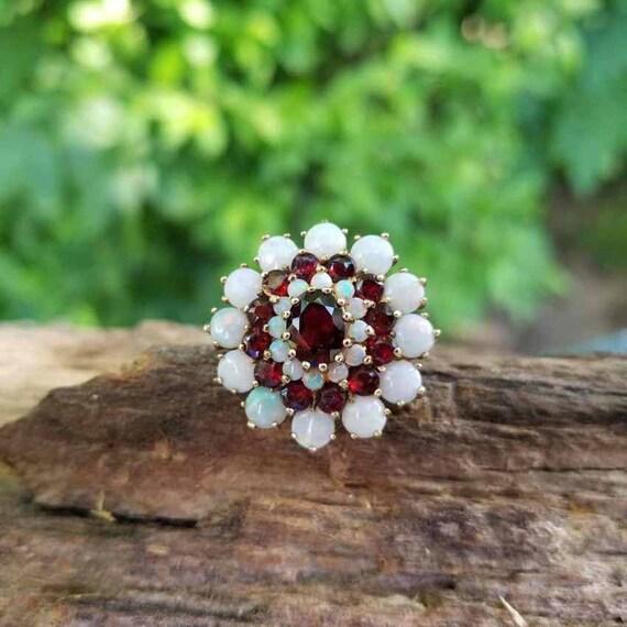 Modern estate triple halo 14k gold opal garnet cocktail statement ring signed DMJ England, size 8, MASSIVE
