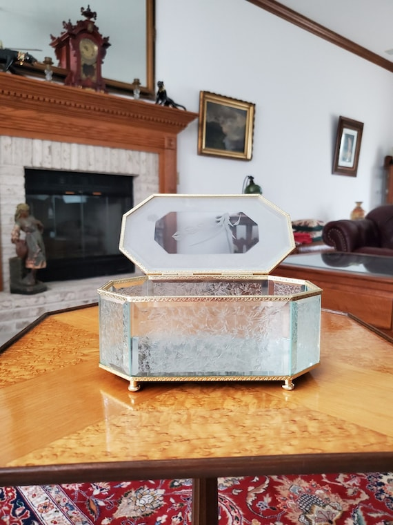 Vintage mid century aqua etched frosted and cut glass casket style footed jewelry box, trinket box, mirrored bottom, brass trim