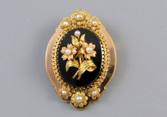Antique mid Victorian 14k multi color gold black onyx mourning pearl brooch pin pendant necklace