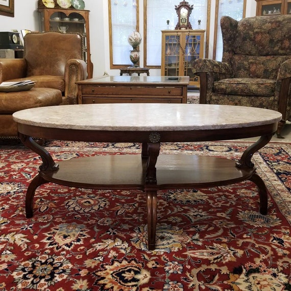 Gorgeous large antique Art Deco mahogany wood pink marble top coffee table, 1930s