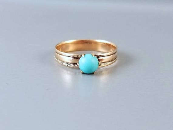 Antique Victorian 10k rose gold, pink gold, Persian blue turquoise cabochon solitaire ring, size 5-1/4