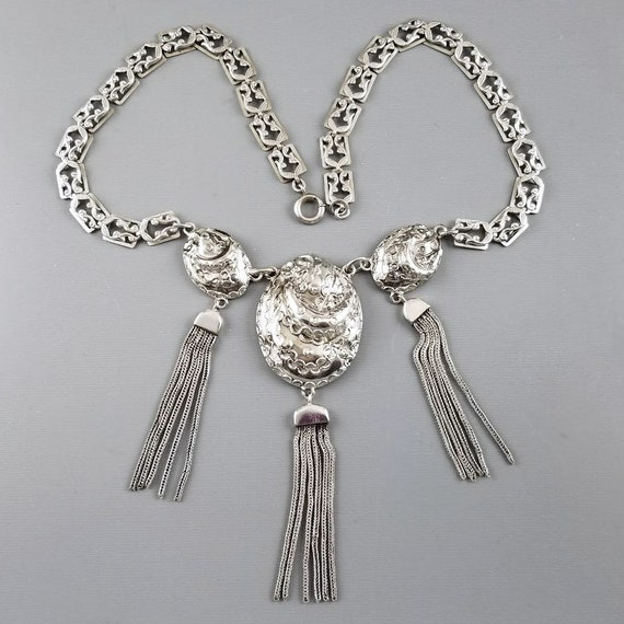 Vintage sterling silver repousse ornate big fat chunky heavy early Danecraft Felch tassle necklace, tassel, signed, 1930s