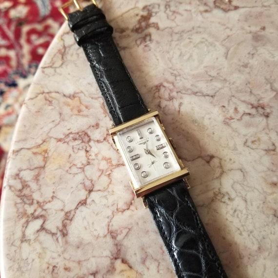 Vintage mid century 14k gold Longines full diamond dial The Advocate tank wrist watch circa 1940-50