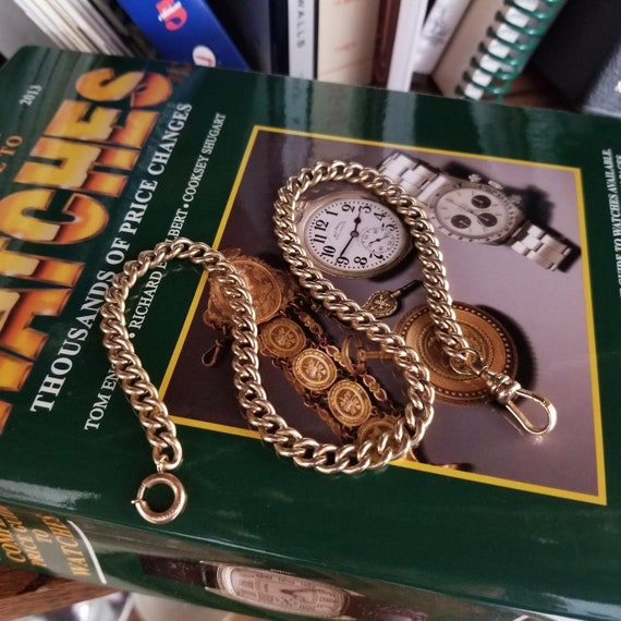 Antique Edwardian gold filled signed Simmons fat chunky curb link pocket watch chain perfect for 18 size watch