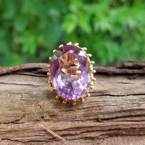 MASSIVE antique Victorian 14k gold 14.30 carat amethyst behemoth wide band hand made and engraved statement ring, size 7, kapow ring
