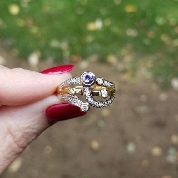 Modern estate 14K gold three band tanzanite and 22 diamond harem ring, statement ring, stacking ring, cocktail ring, size 8