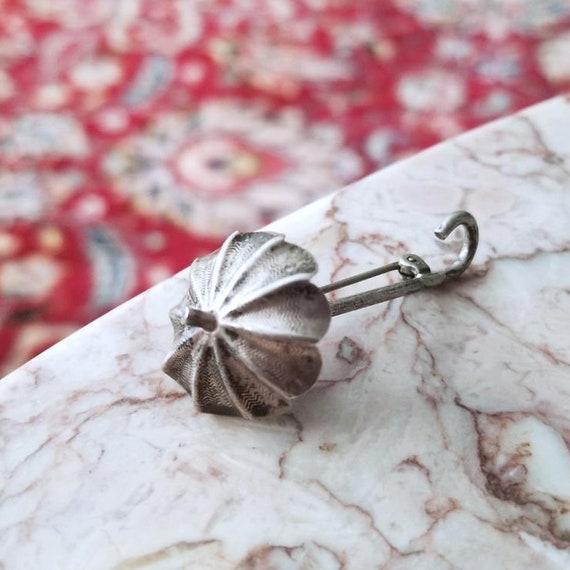 Darling vintage 1940s sterling silver umbrella figural brooch pin