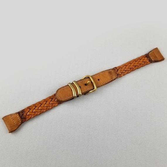 Vintage mid century genuine pigskin braided leather ladies watch bracelet, watch strap, watch band, 9/16 inch