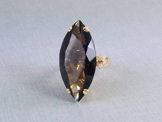 MASSIVE mid century vintage estate 18k gold 21.62 carat marquise cut smoky topaz quartz statement cocktail ring, size 6.5
